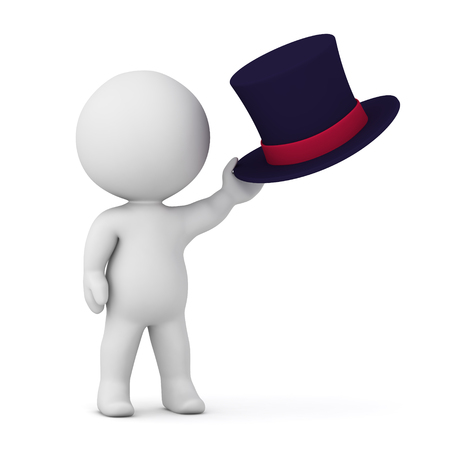 3D character holding a top hat. Isolated on white background.