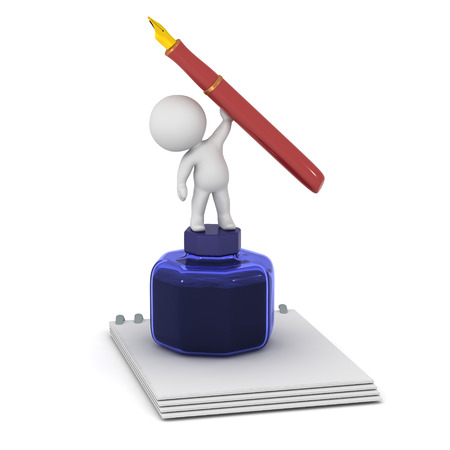 Personnage 3D avec un bloc-notes et un grand pot à encre, tenant un stylo-plume. Isolé sur fond blanc Banque d'images - 89432125