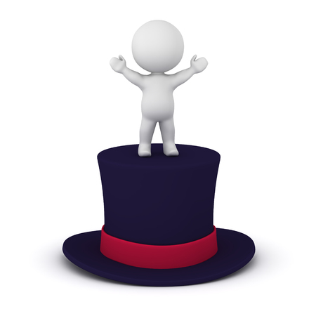 A 3D character standing with arms raised on a large top hat. Isolated on white background. Stock Photo