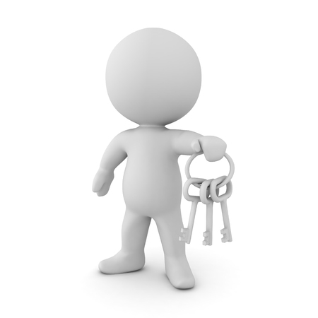 3D Character holding a key chain with silver keys. Isolated on white.  Stock Photo