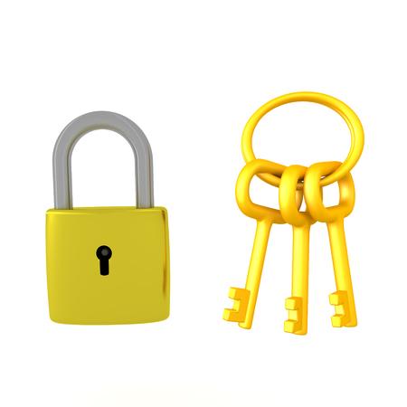 황금 열쇠 고리 옆에 자물쇠의 3D 일러스트 레이 션. 흰색으로 격리.