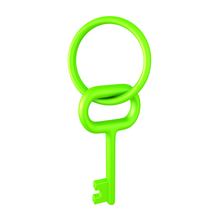 3D illustration of a shiny green key and key chain. Isolated on white.