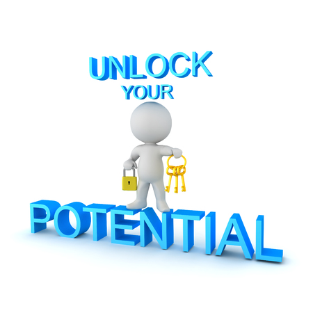 3D Character holding golden keys and padlock and standing on blue text saying UNLOCK your POTENTIAL