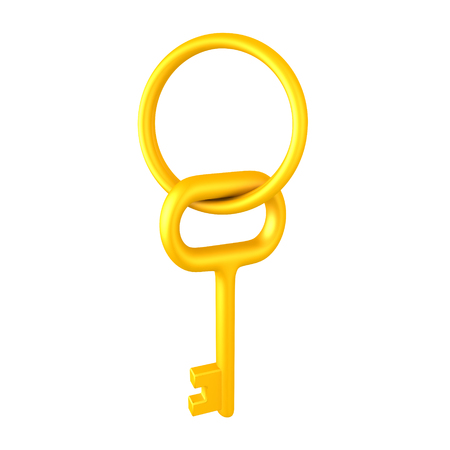 3D illustration of a golden key and key chain. Isolated on white.