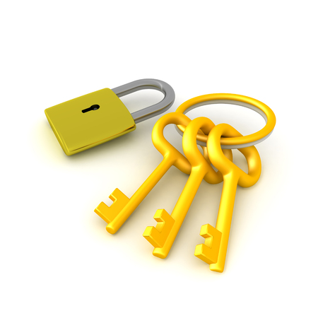 3D illustration of a golden keychain with keys and padlock lying on the floor. Isolated on white.