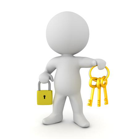 3D Character holding a padlock and a keychain. Isolated on white.  Banco de Imagens