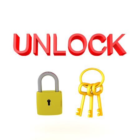 3D illustration of a padlock and keychain with the text UNLOCK above. Isolated on white.