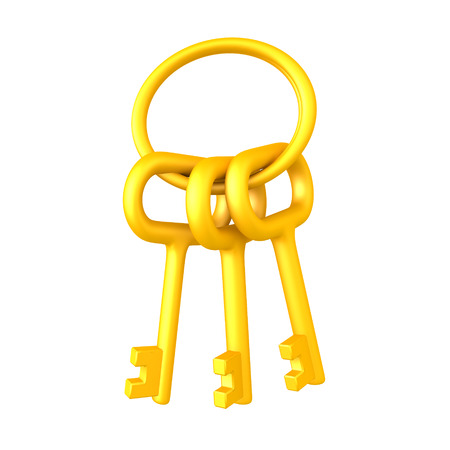 3D illustration of golden keychain with keys. Isolated on white.