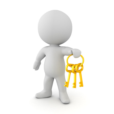 3D Character holding a golen key chain with keys. Isolated on white.