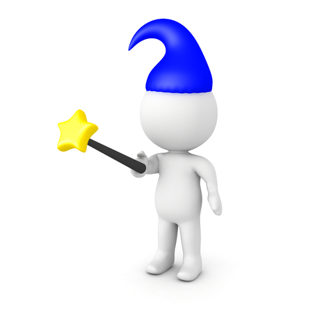 3D Character wielding a wand and wearing a wizard hat. Isolated on white.