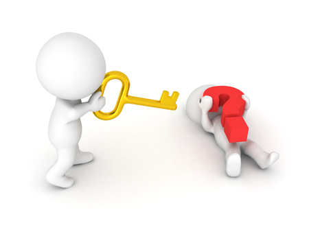 3D Character  is offering a golden key to another character who is trapped under a big red question mark. Image symbolizing cooperation, and group think.