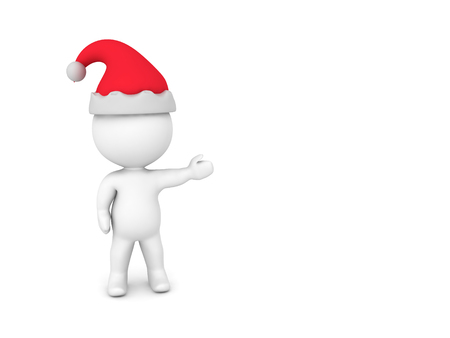 3D Character wearing Santa Claus hat showing to the right. Isolated on white.