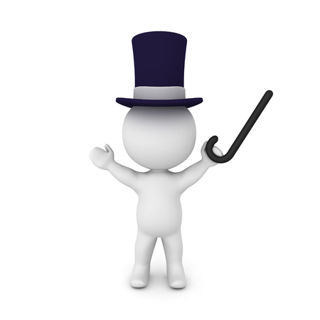 3D Character wearing top hat and holding up a cane. Isolated on white.