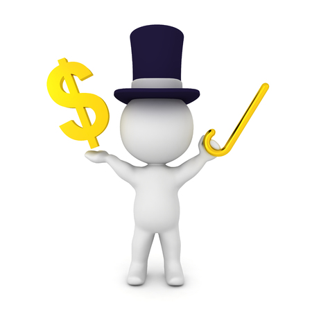 3D illustration of a banker wearing a top hat and holding a  golden cane in his hand. His arms are raised and in one of his hands hes holding a golden dollar sign.