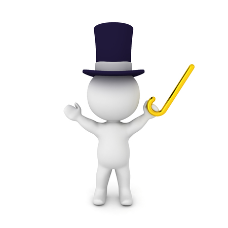 3D Character wearing top hat and holding golden cane. Isolated on white.  Stock Photo
