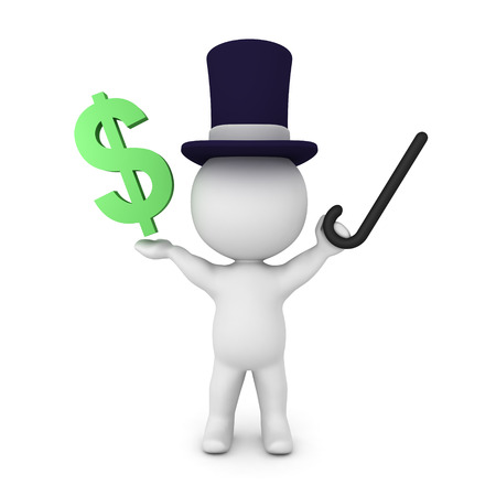 3D illustration of a banker wearing a top hat and holding a cane in his hand. His arms are raised and in one of his hands hes holding a dollar sign.  Stock Photo