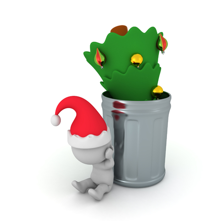 3D illustration of christmas tree thrown in a garbage can and sad Santa Claus. Isolated on white.  Stock Photo