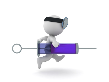 3D Character dressed as doctor running with a syringe. Isolated on white.