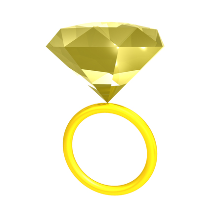 3D illustration of  golden ring with yellow gem. Isolated on white.