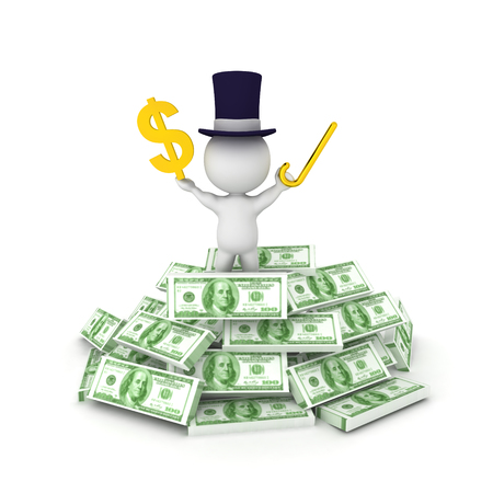 3D illustration of a banker with top hat standing on top of cash pile and gold dollar sign in hand. Isolated on white.