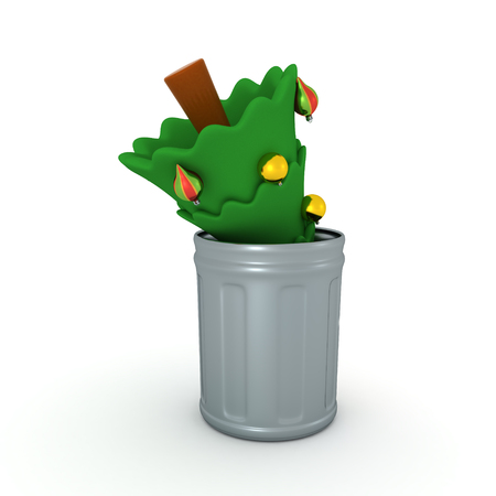 3D illustration of christmas tree thrown in a garbage can. Isolated on white.
