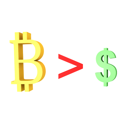 3D illustration showing the bitcoin overtaking the dollar. Isolated on white.  Stock Photo