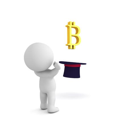 シルクハットから新興 bitcoin ロゴの畏敬の念を 3 D キャラクター。白で隔離。