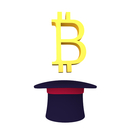 3D Bitcoin symbol emerging out of top hat. Isolated on white.
