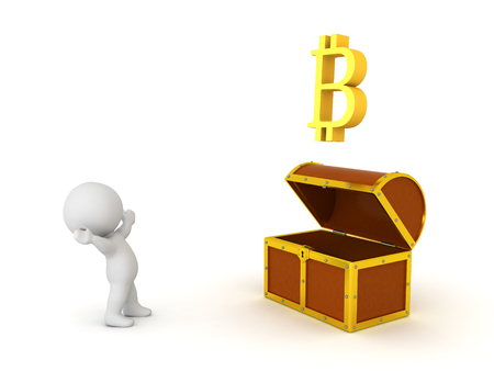 3D Character looking in awe at bitcoin coming out treasure chest. Isolated on white.