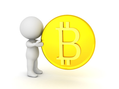 3D Character holding a golden bitcoin. Isolated on white.