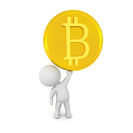 3D Character holding up a golden bitcoin. Isolated on white. Stock Photo - 91262707