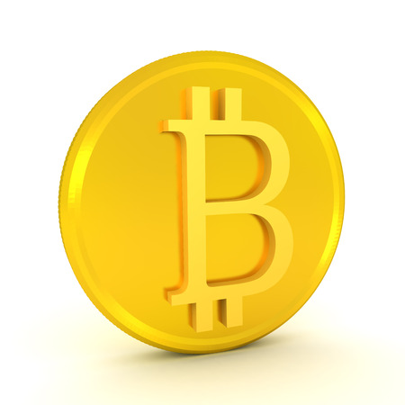 3D illustration of  golden bitcoin. Isolated on white.