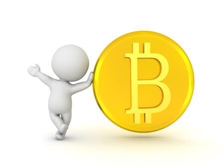 3D Character waving and leaning on golden bitcoin. Isolated on white.