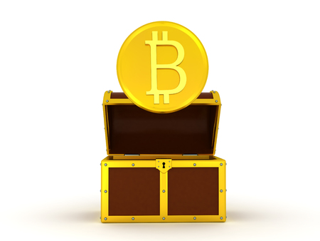 3D illustration of shiny golden bitcoin coming out of chest. Isolated on white.