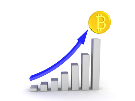 3D column graph showing the growth of bitcoin. Isolated on white.