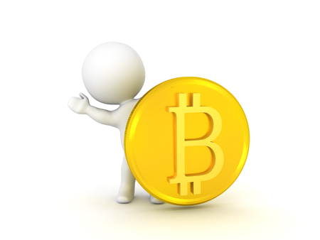 3D Character waving from behind bitcoin. Isolated on white.