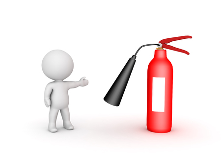 3D Character showing red fire extinguisher. Isolated on white.  Stock Photo