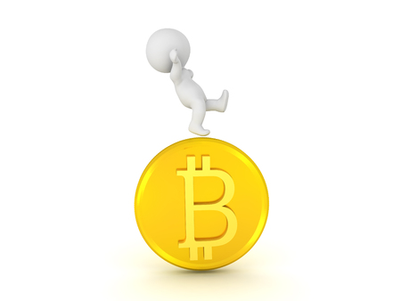 3D Character falling off of bitcoin. Isolated on white.  Stock Photo