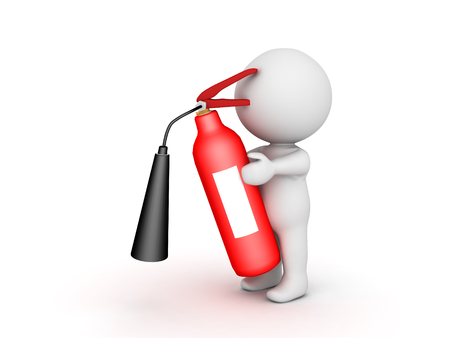 3D Character holding fire extinguisher. Isolated on white.  Stock Photo