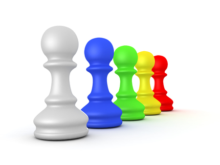 3D illustration of a row of colorful chess pieces. Isolated on white.  Stock Photo