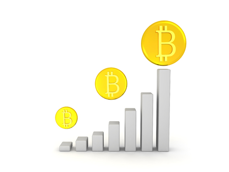 3D Financial chart showing the gradual growth of bitcoin. Isolated on white.
