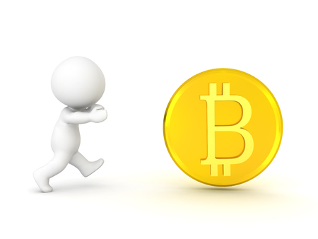 Character chasing after bitcoin. Isolated on white.