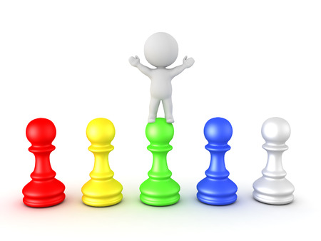 3D Character standing with his arms raised on top of colorful pawns. Isolated on white.