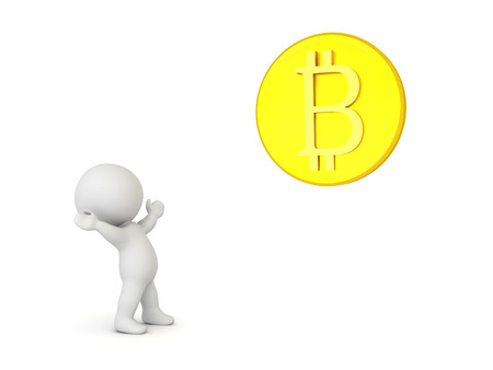 3D Character in awe of bitcoin. Isolated on white.  Stock Photo