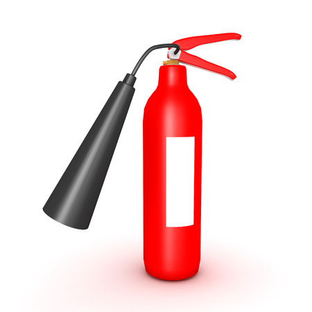 3D illustration of red fire extinguisher. Isolated on white.