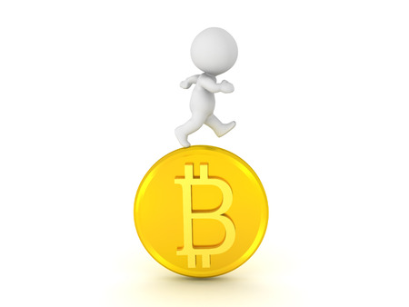3D Character running on top of bitcoin. Isolated on white.