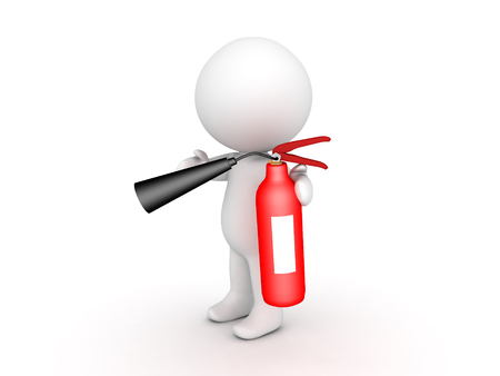 3D Character using a red fire extinguisher. Isolated on white.