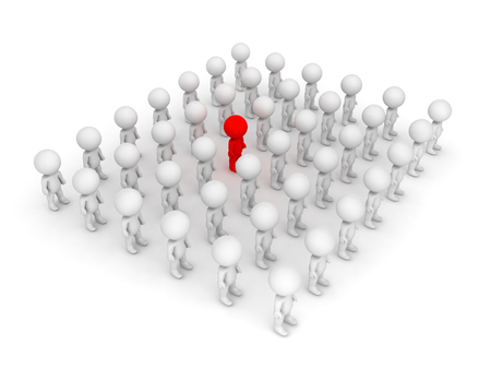 3D illustration of red character standing out of the crowd. Isolated on white.