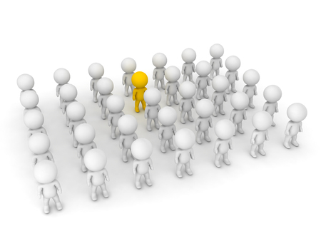 3D illustration of yellow character standing out of the crowd. Isolated on white.