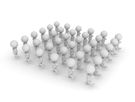 3D illustration of a group of character marching. Isolated on white.